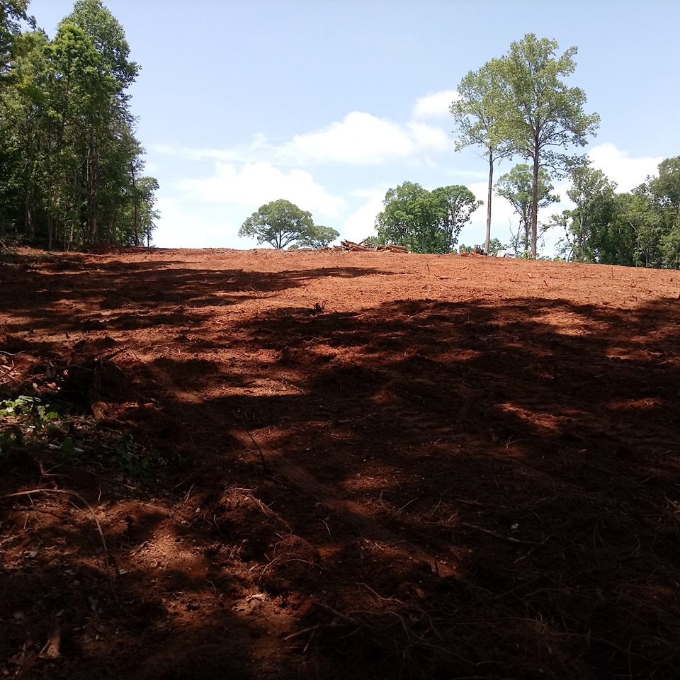 Clear and grading of a hill